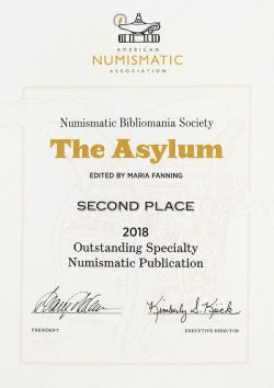 Image of NBS's 2nd place award from ANA for Outstanding Specialty Numismatic Publication